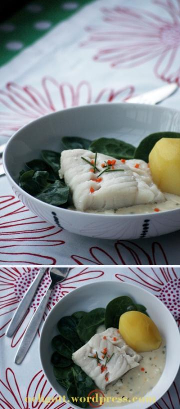 Kokt torsk med ägg-, senap- och dragonsås