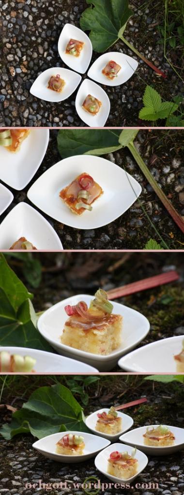 Minimandelkaka med rabarber