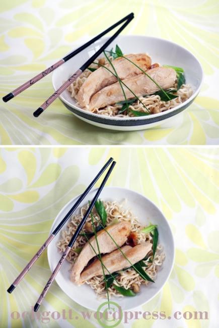 Asiatisk kycklinggryta med sesamnudlar