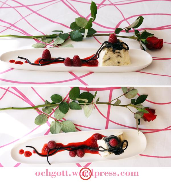 Lakritssemifreddo med hallon- och jordgubbssås