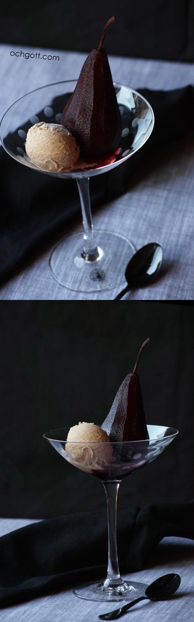 Rödvinskokta päron med pepparkaksglass