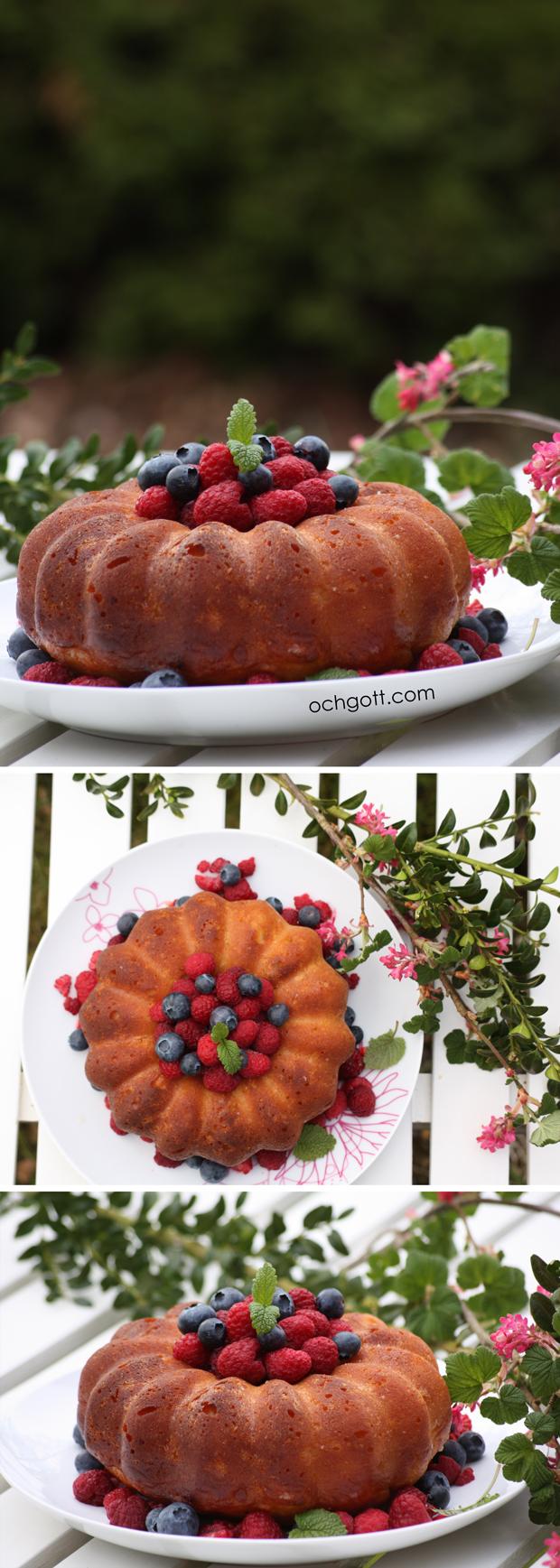 Savarin med hallon, blåbär och Drambuie