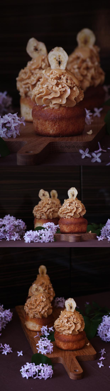 Banancupcakes med jordnöts- och ingefärsfrosting