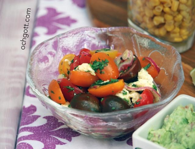 Tomatsallad med rödlök, mozzarella och curry