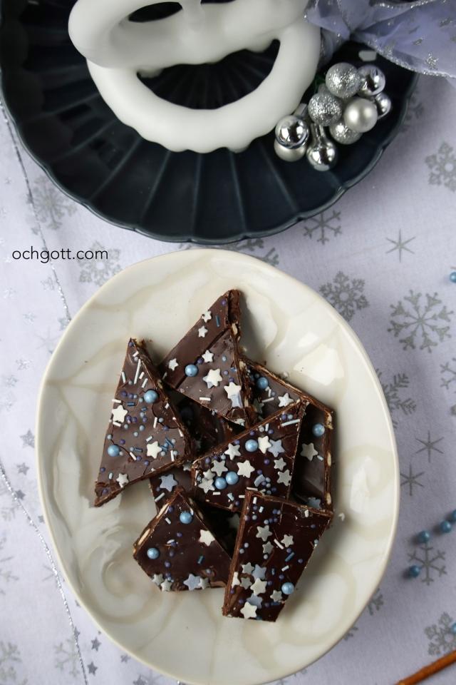 Choklad- och nougatbräck med salta pinnar - Foto: Britt-Marie Knutsson